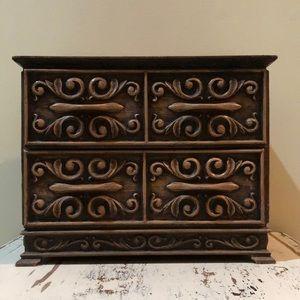 Vintage Lerner Faux Wood Jewelry/Sewing Box